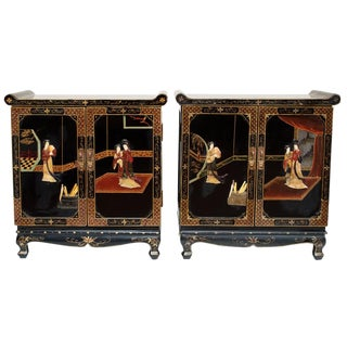 C. 1920-1940s Vintage Chinese Export Coromandel Cabinets- A Pair For Sale