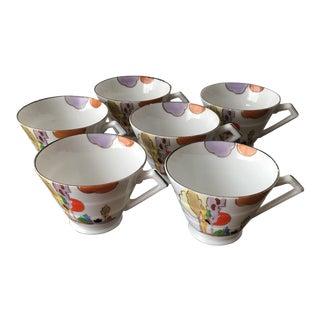Hand Painted Fine Porcelain Art Deco Cups - Set of 6