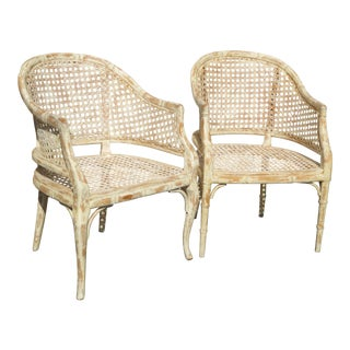 Vintage French Country Off White Cane Back Accent Club Chairs - a Pair For Sale