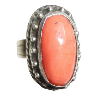 1950s Chinese Coral Cabochon Silver Ring For Sale