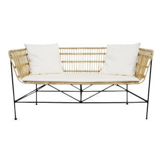 Rattan & Iron Bench For Sale