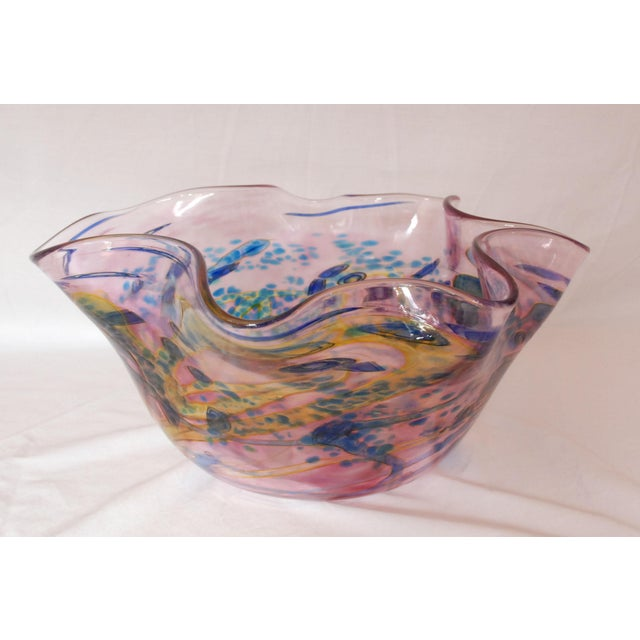 Italian Large Multi Colored Blown Glass Art Bowl For Sale - Image 3 of 10