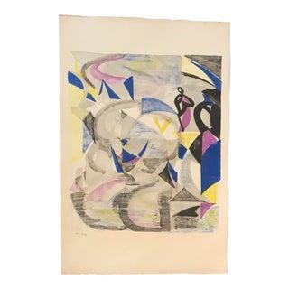 1960s Mid-Century Modern Helene De Beauvoire ''Le Gondolier'' Lithograph Print For Sale