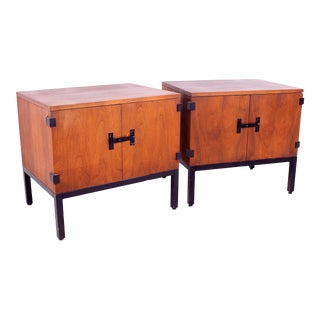 Milo Baughman for Directional Mid Century Walnut Nightstands - a Pair For Sale