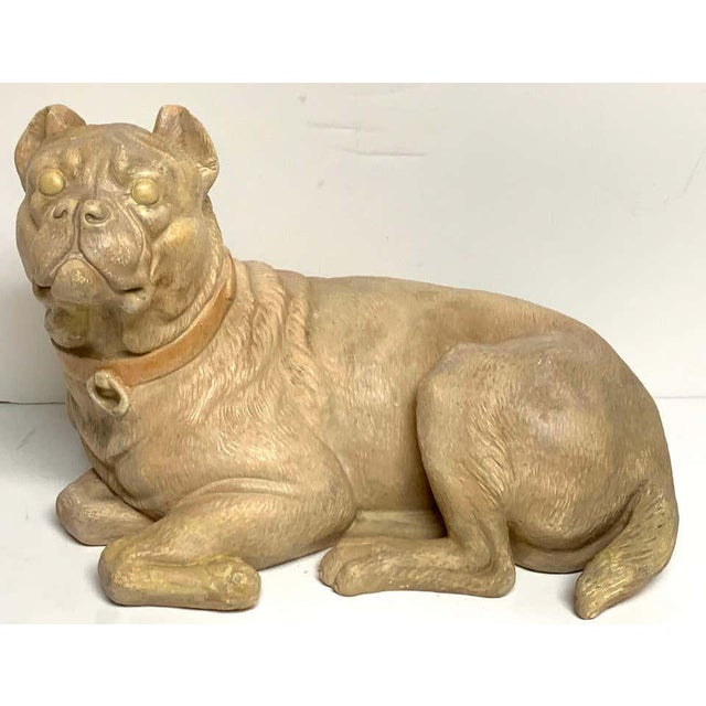 Victorian Late 19th Century Antique English Terracotta Recumbent Pug Dog For Sale - Image 3 of 10
