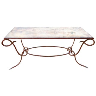 Circa 1940 René Drouet Patinated Silvered Glass and Forged Steel Coffee Table. France For Sale