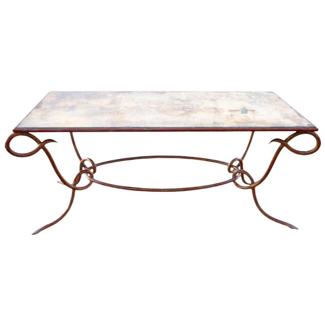 Circa 1940 René Drouet Patinated Silvered Glass and Forged Steel Coffee Table. France - Image 1 of 6