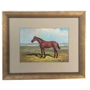 English Equestrian Horse Oil Painting For Sale