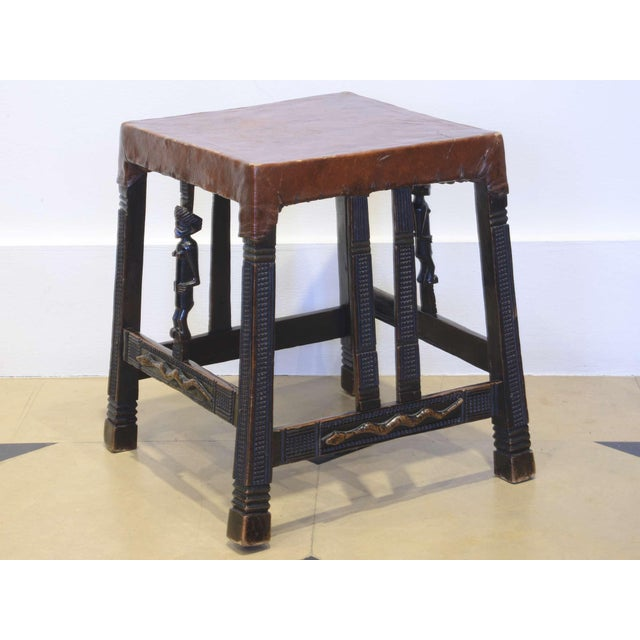 """Set of 4 """"Chokwe"""" African Stools, in Sculpted Wood and Parchment For Sale - Image 6 of 12"""