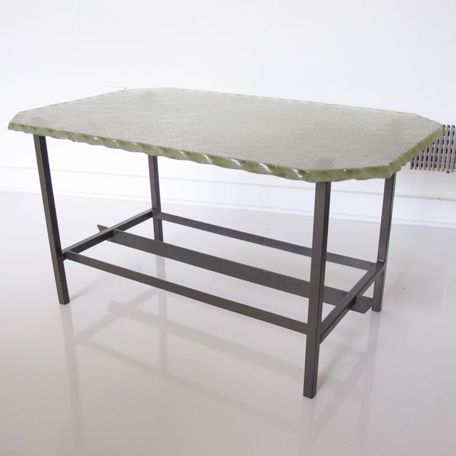 Metal Fontana Arte Style 1960s Italian Glass Slab and Metal Coffee or Cocktail Table For Sale - Image 7 of 10