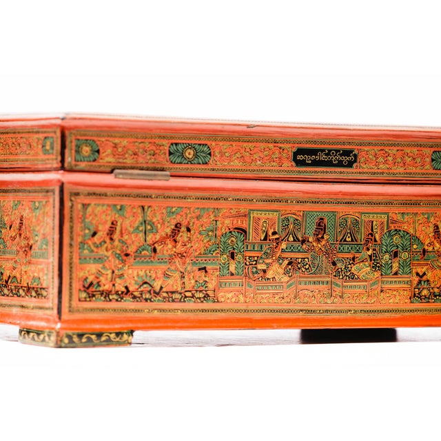 Asian Antique Extra Large Hand-Painted Red Burmese Lacquered Box For Sale In Seattle - Image 6 of 11