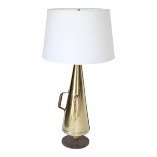 English Brass Megaphone Table Lamp For Sale