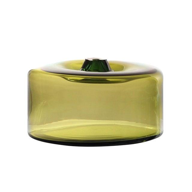 """SkLO Cylinder Glass Vessel 16""""- Green For Sale"""