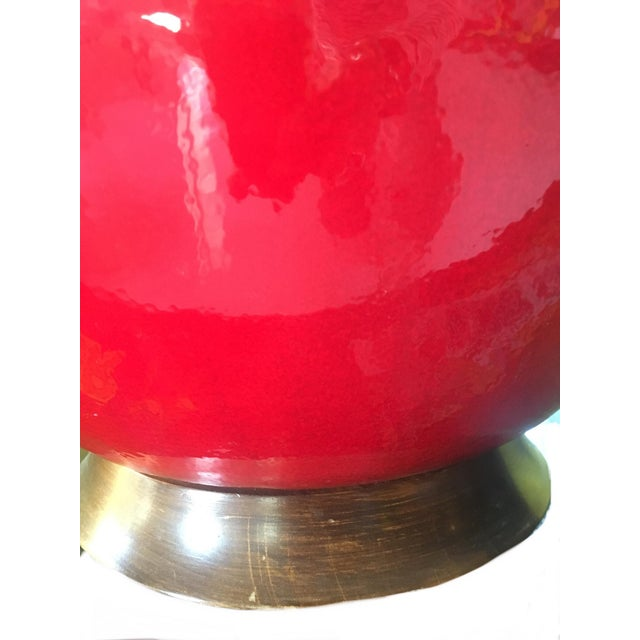 Mid-Century Red Glazed Ceramic Lamp For Sale - Image 4 of 9
