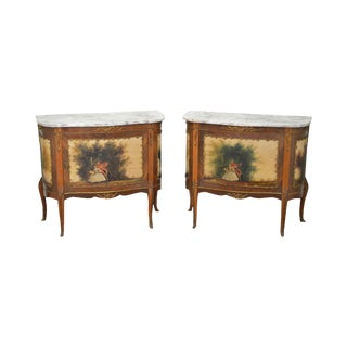 French Louis XV Style Verni Martin Marble Commodes Consoles - a Pair For Sale