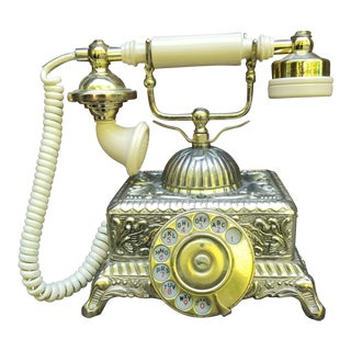 Vintage Victorian Gold Rotary Telephone For Sale
