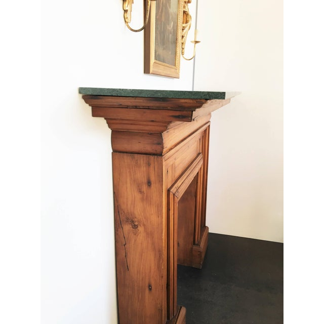 Brown Antique Mahogany Fireplace Mantel With Green Marble Top For Sale - Image 8 of 9