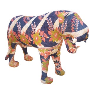 Vintage Kantha Quilt Tiger Sculpture For Sale
