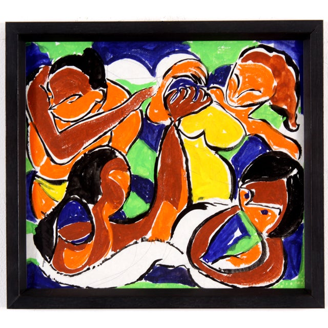 Vintage Abstract Figure Gouache Painting - Image 2 of 6