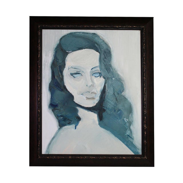 "1970s Oil Portrait of a Woman in Blue ""Sophia"", Framed For Sale - Image 4 of 4"
