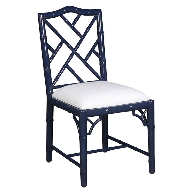 Selamat Designs Chippendale Style Navy Lacquer Side Chair - Image 2 of 2