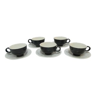 Eva Zeisel for Hallcraft Mid-Century Modern Black Atomic Cup & Saucers - Set of 5 For Sale