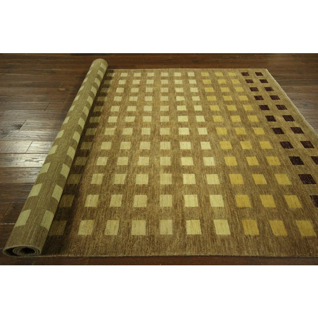 "Gabbeh Checkered Wool Rug - 7'9"" x 9'8"" - Image 8 of 9"