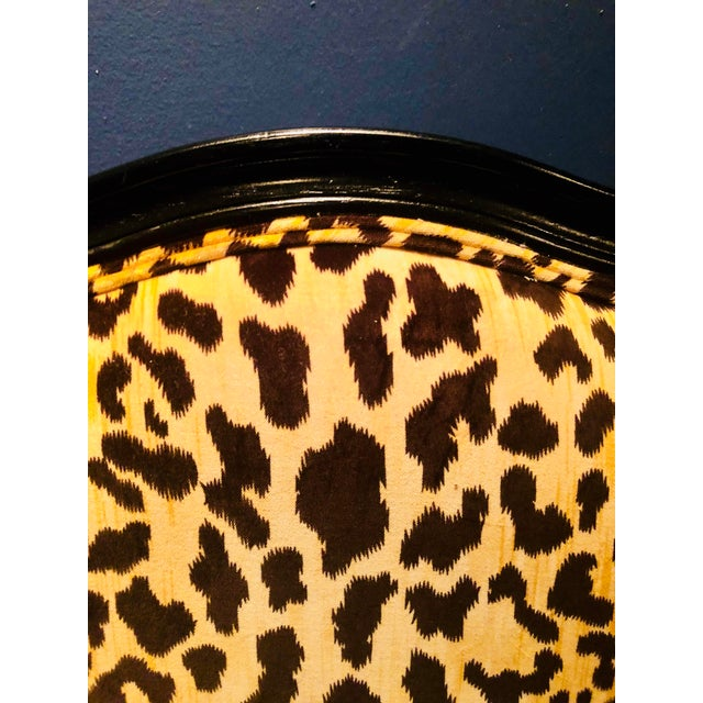 Animal Skin Black Lacquered Jamil Velvet Leopard Armchairs - A Pair For Sale - Image 7 of 14