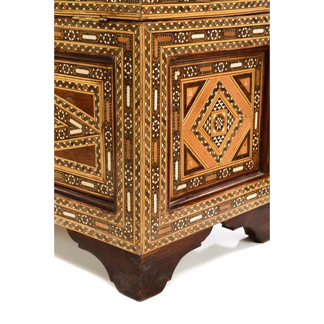 Beautiful Moroccan Inlaid Vintage Trunk Chest W/Geometric Design For Sale - Image 9 of 10