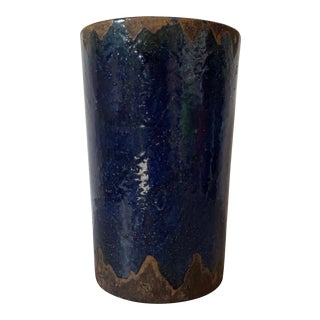 Vintage Hand-Thrown Artist Marked Studio Distressed Vase For Sale