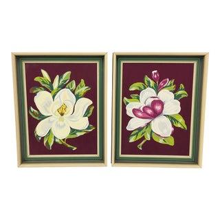 Pair Vintage Original Paint by Number Magnolias For Sale