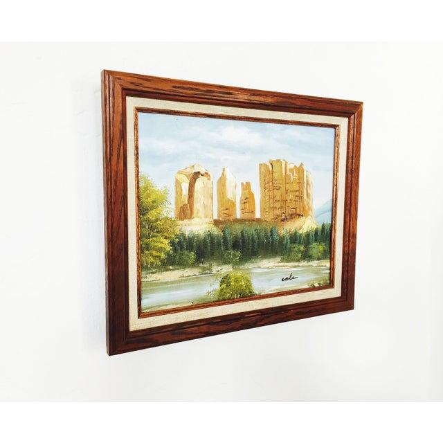 Rustic Vintage Southwestern Landscape Oil Painting For Sale - Image 3 of 5