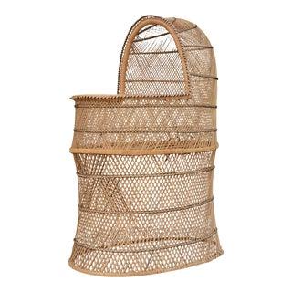 Vintage Woven Wicker Freestanding Bassinet For Sale