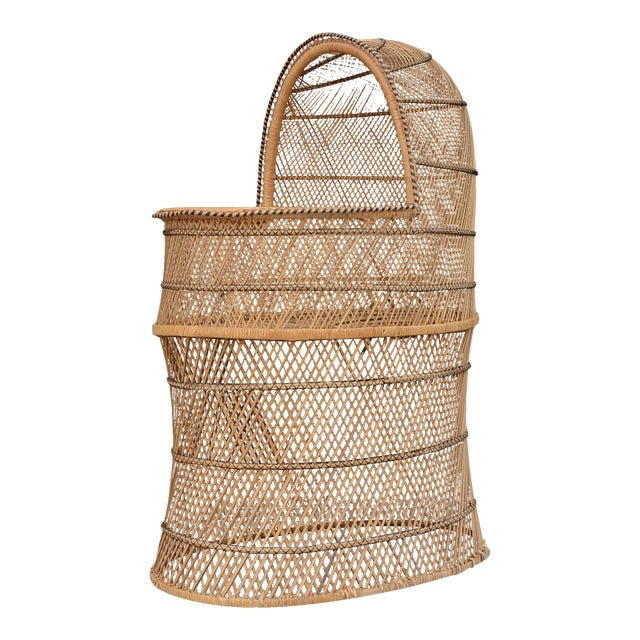 Vintage Woven Wicker Freestanding Bassinet For Sale
