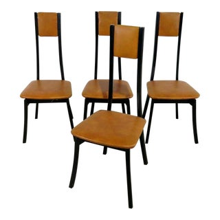 Set of 4 Italian Mid-Century Modern High Back Dining Side Chairs For Sale