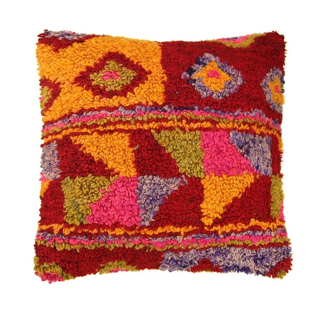 Colorful Boho Chic Tulu Carpet Pillow - Image 1 of 2