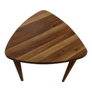 "Mid Century Modern ""Guitar Pick"" Handmade Rosewood Table in the Style of Jens Risom For Sale"
