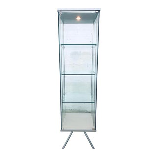 Contemporary Glass Curio / Vitrine With Spot Lamp For Sale