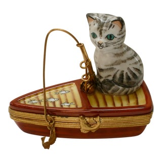 Limoges Mid Century Cat Fishing From Boat Box For Sale
