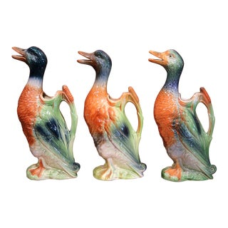 Three Early 20th Century French Hand-Painted Barbotine Duck Water Pitchers