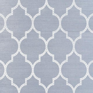 Sample - Schumacher Algiers Sisal Wallpaper in Chambray For Sale