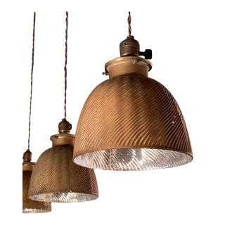 1920s Early 20th Century Industrial Gold X-Ray Mercury Glass Dome Pendants Lights - a Pair For Sale