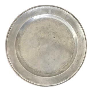 19th Century Large Round Pewter Tray / Charger For Sale