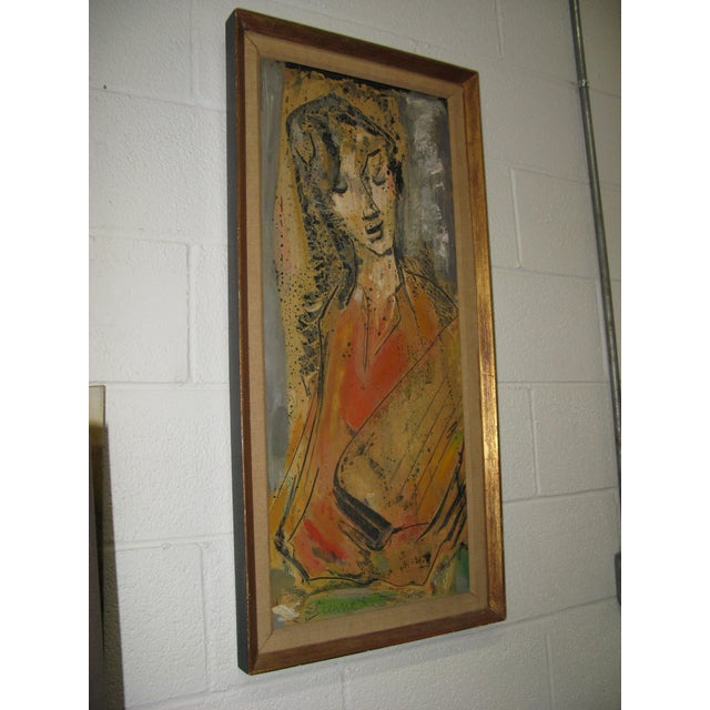 Etienne Ret Cubist Portrait Oil Painting - Image 6 of 7
