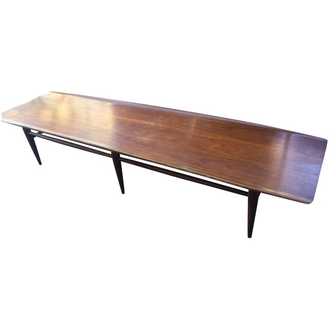 Vintage Bassett Walnut Surfboard Coffee Table For Sale