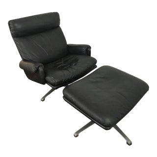 Scandinavian Black Leather Swivel Lounge Chair and Ottoman