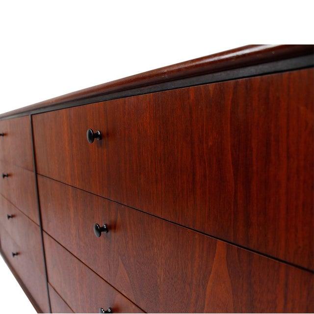 Mid Century Walnut 12-Drawer Dresser / Credenza - Image 5 of 9