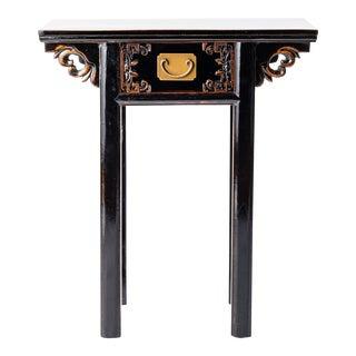 Asian Style Black Art Decor Table For Sale