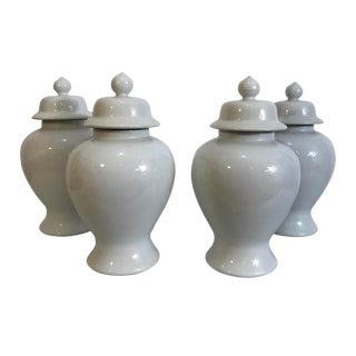 1920s Vintage Chinoiserie Republic Period White Ginger Jars - Set of 4 For Sale