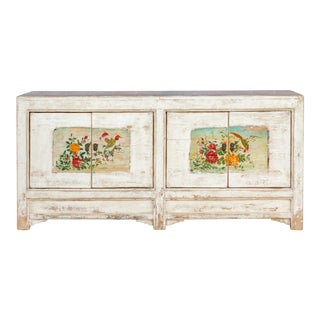 Exquisite Asian White Painted Sideboard For Sale